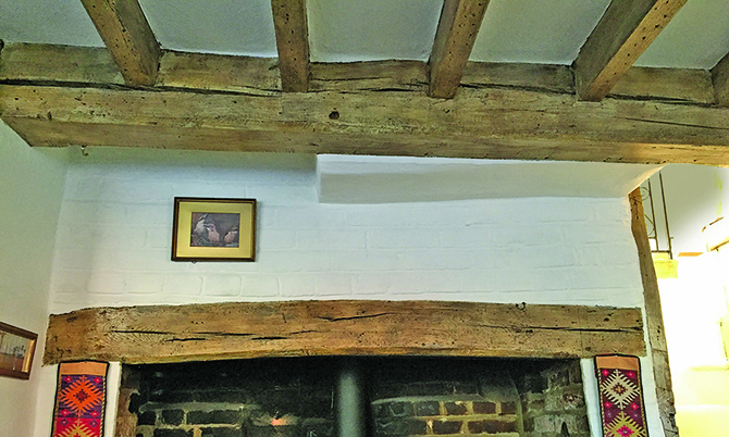 Oak beams restored with no sand blasting or paint stripping